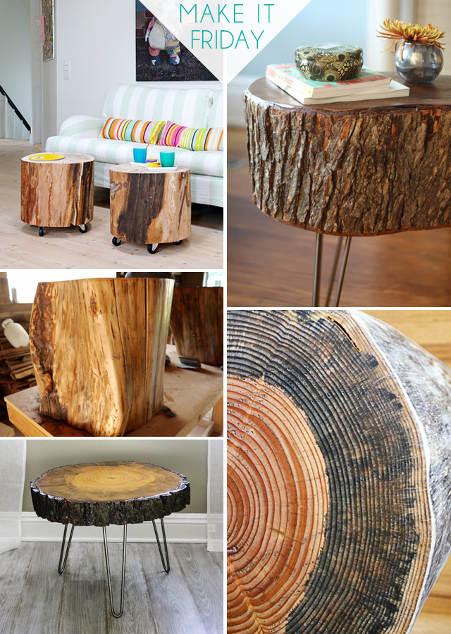 Make It Friday: Tree Slice Tables || DIY Roundup via Idle Hands Awake