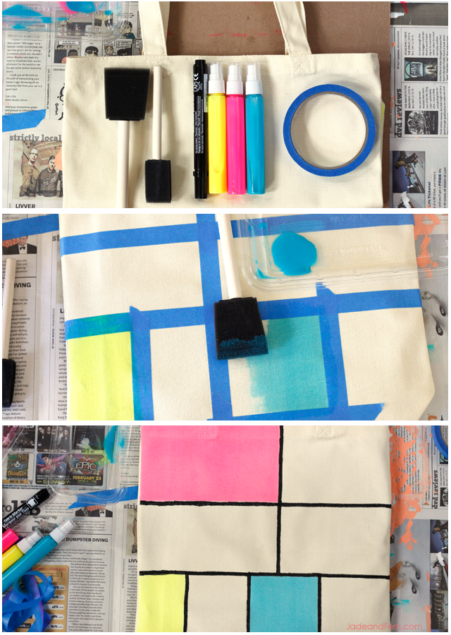The Mondrineon - DIY Neon Tote || Jade and Fern