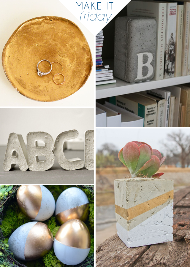 DIY Cement Projects Roundup via Jade and Fern