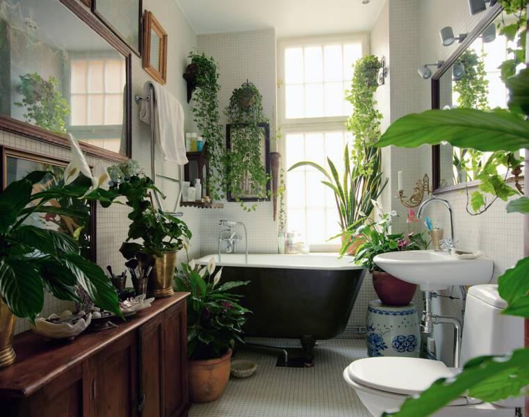 Plant-filled Bathroom, via The Brick House