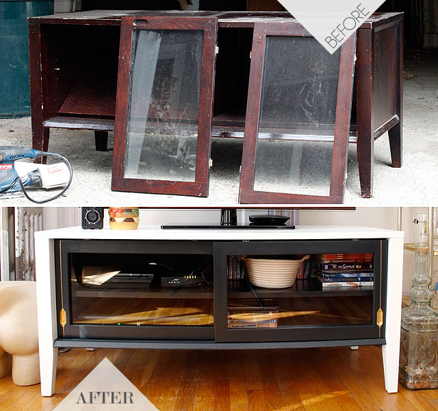 Rescued TV Console    Jade and Fern