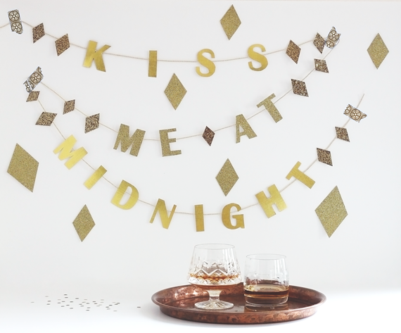 DIY Kiss Me At Midnight New Year's Eve Garland by Jade and Fern