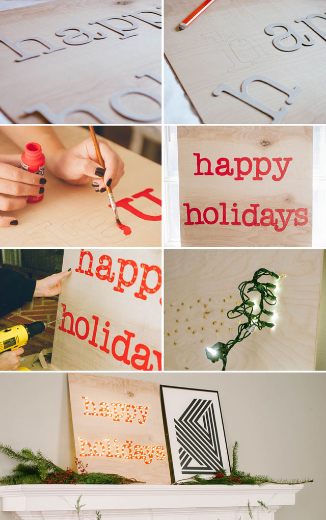 DIY Happy Holidays Marquee Sign by The Clever Bunny via Jade and Fern