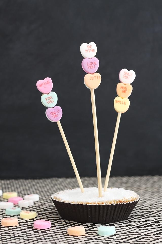 DIY Candy Heart Dessert Toppers @idlehandsawake