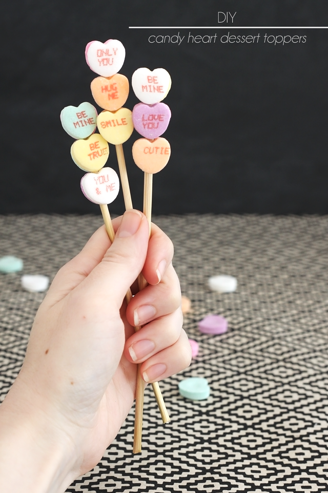 DIY Candy Heart Dessert Toppers || Jade and Fern