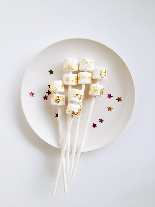 Edible Gold Leaf Marshmallow Pops by Make and Tell