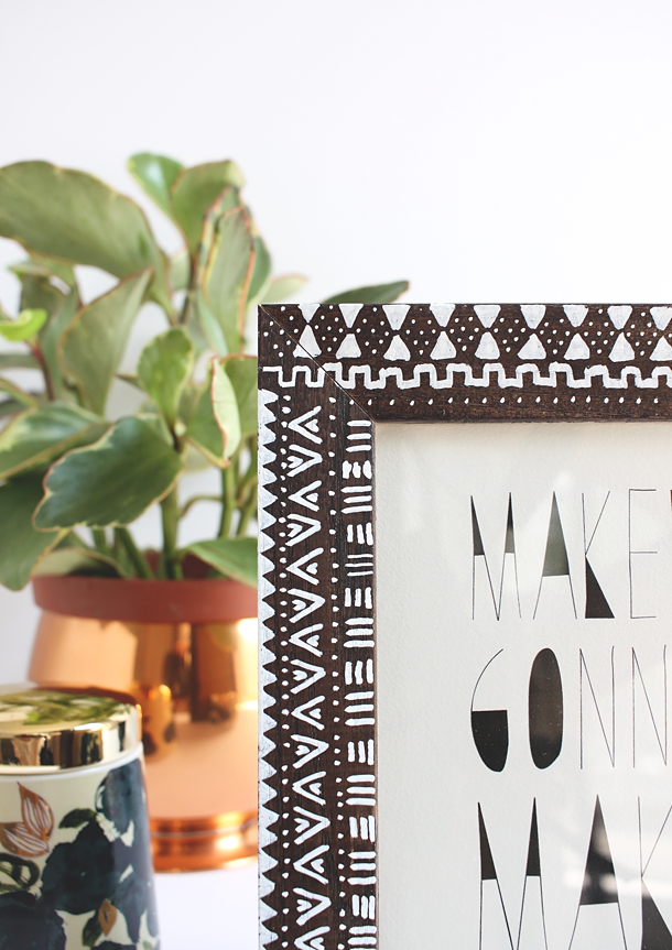 DIY Mudcloth Picture Frame // Idle Hands Awake