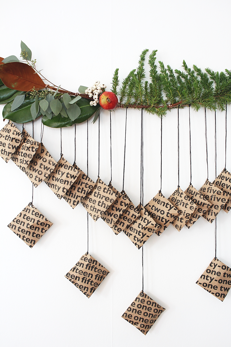 Make a modern and graphic DIY Printable Advent Calendar with this free download! Just print, stuff, hang, and trim. // Idle Hands Awake #idlehandscreate
