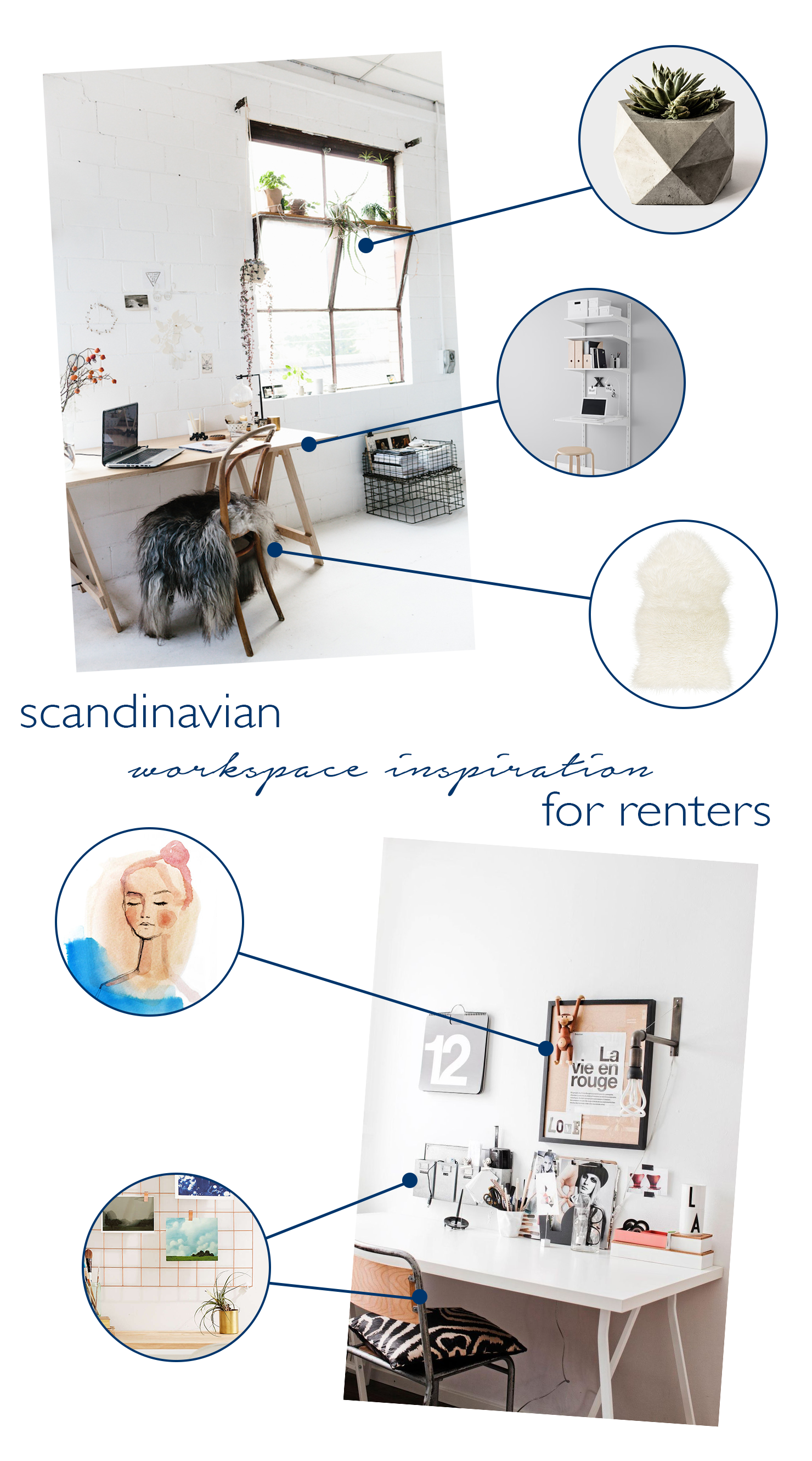 Scandinavian Workspace Inspiration for Renters via Idle Hands Awake