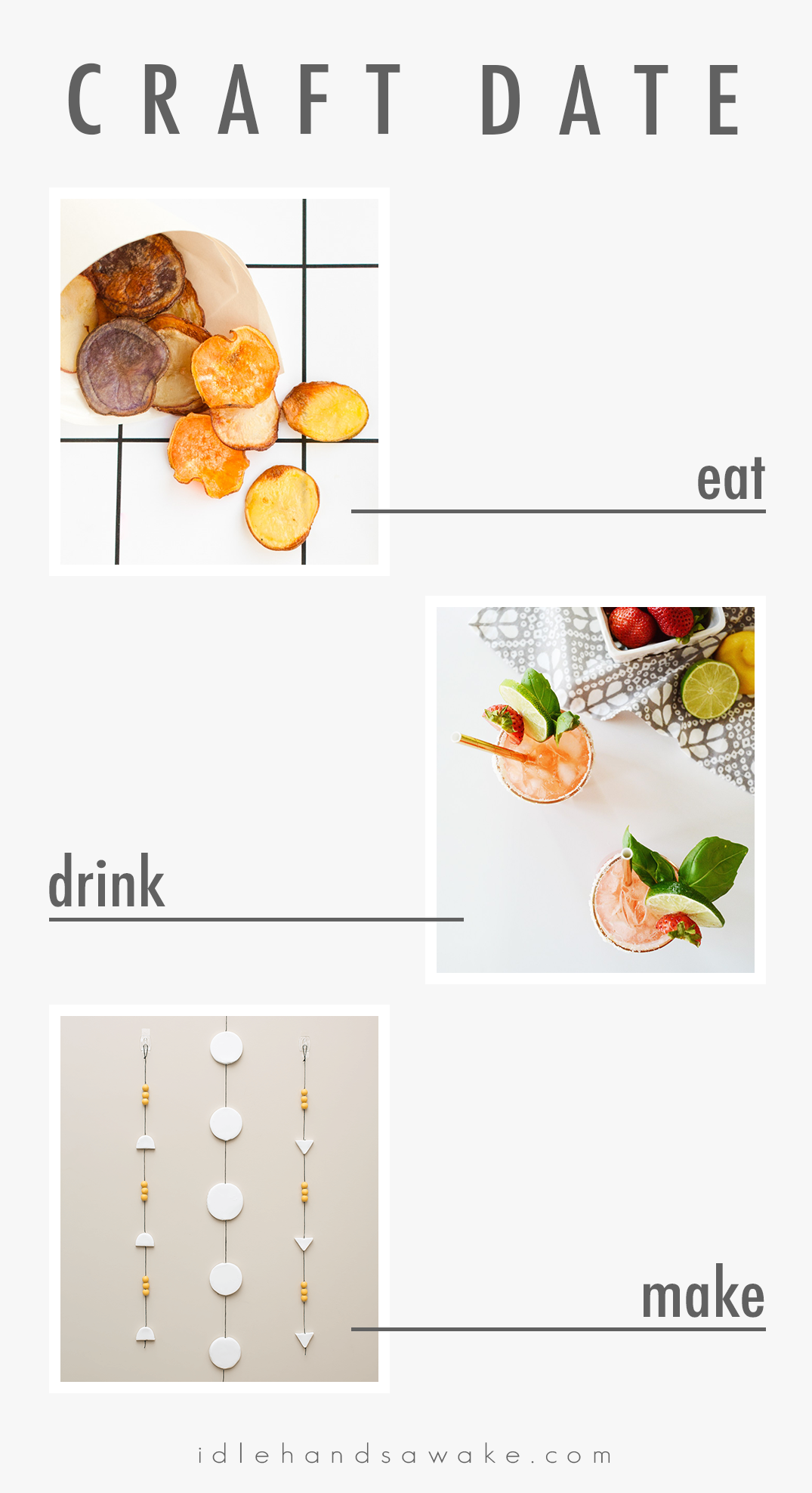 Grab your friends and have a craft date! Make these simple snacks, drinks, and crafts together for a fun weekend activity.