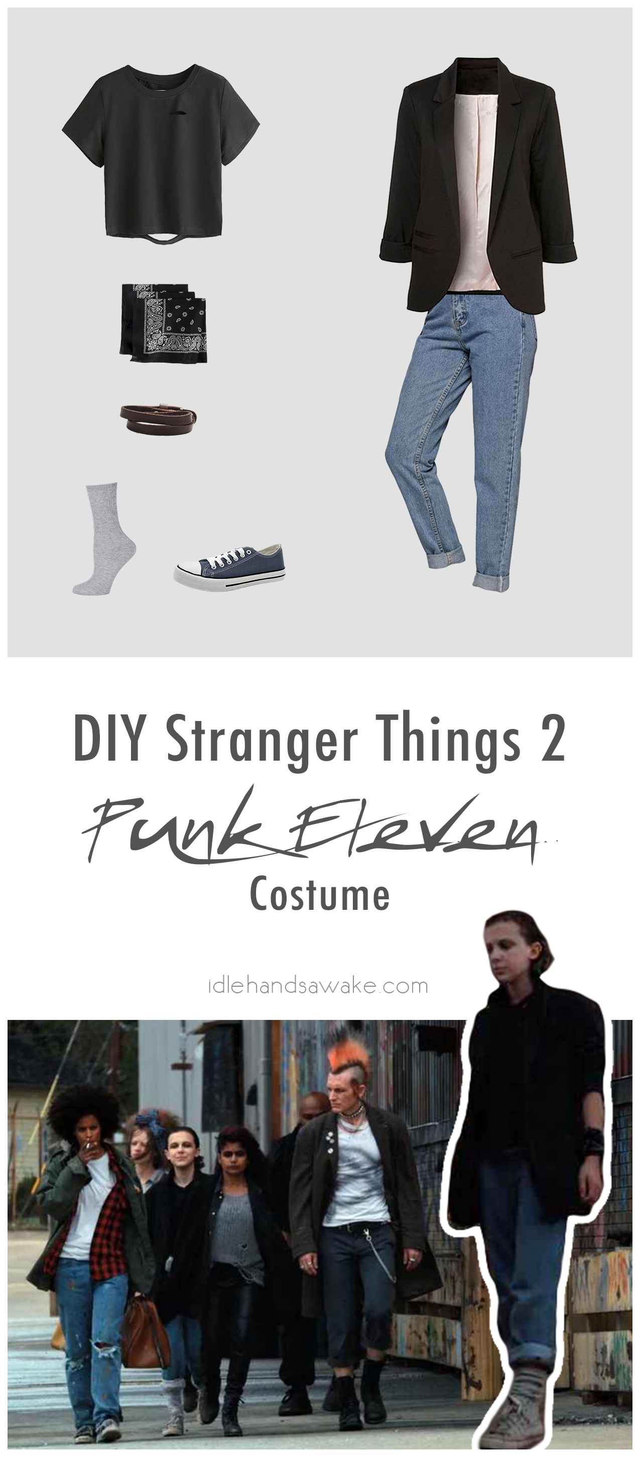 Don't be a mouthbreather -- grab everything you need for a bitchin' DIY Stranger Things 2 Punk Eleven costume. Let the badassery begin.