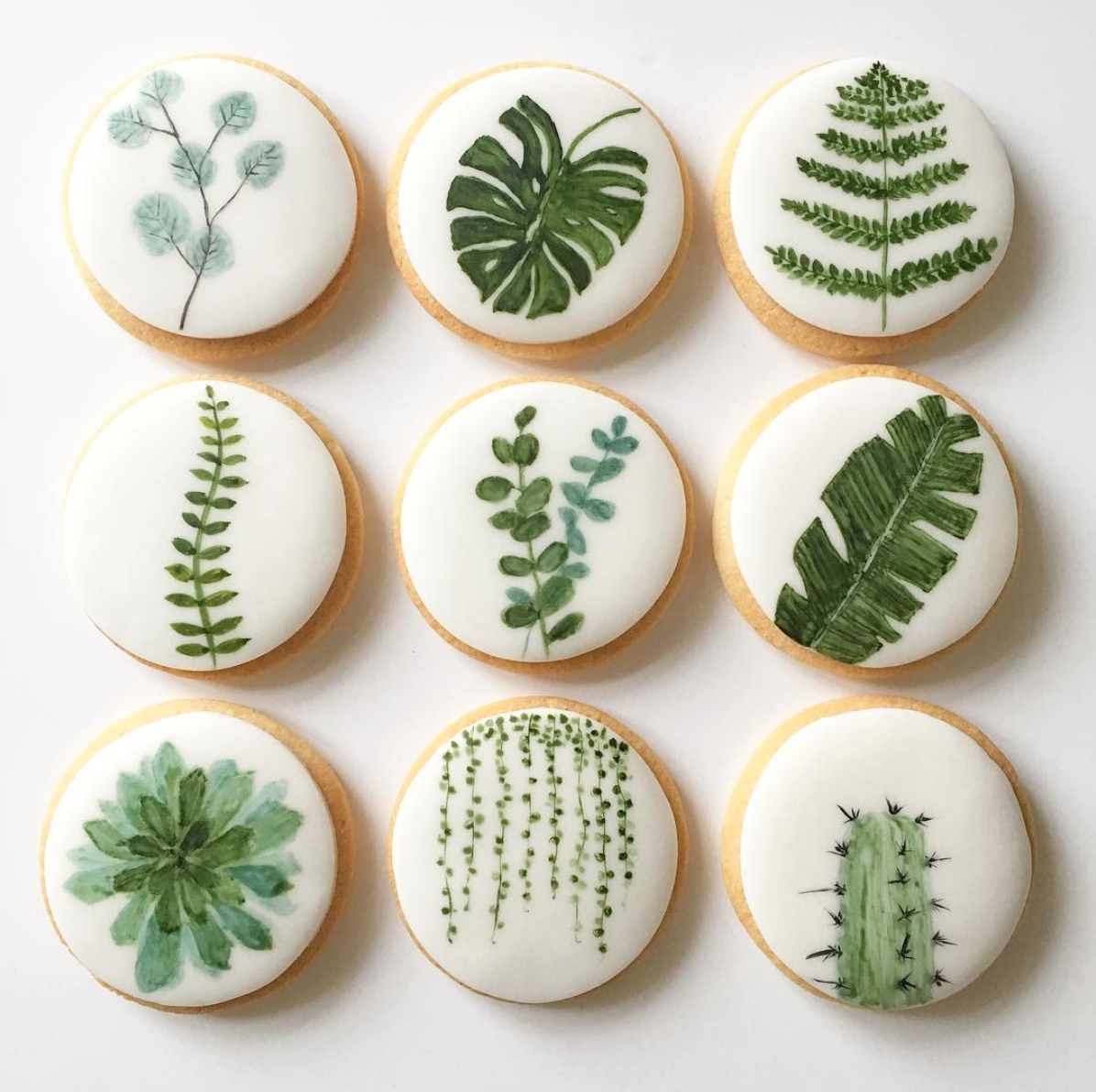 Watercolor Botanical Sugar Cookies by Lemon Tree Cakes