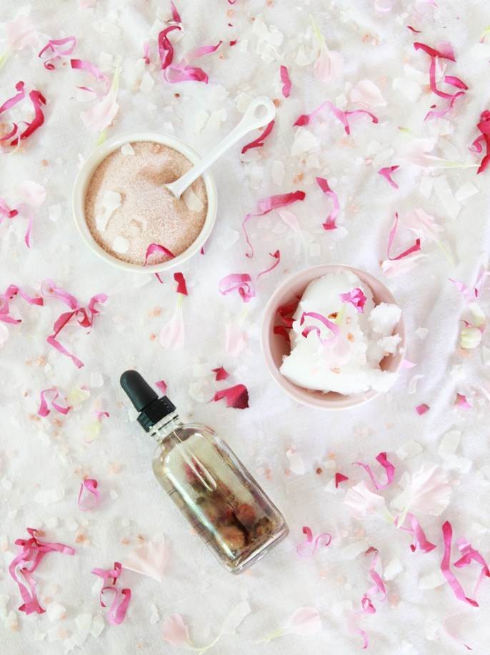 DIY Rose Coconut Salt Scrub by A Bubbly Life