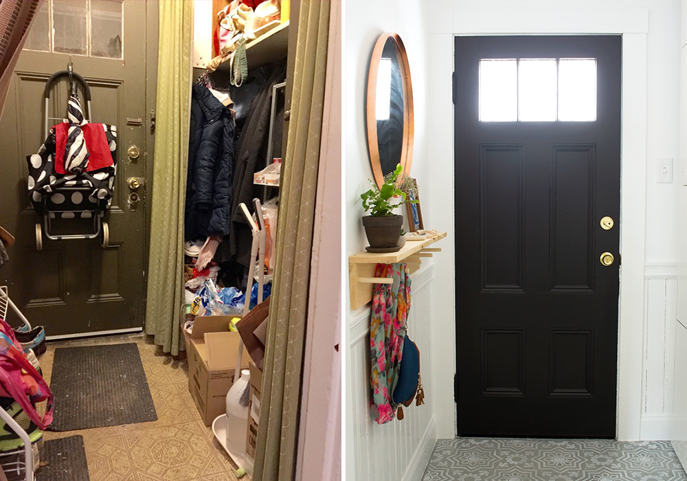 Entryway Makeover Before and After @idlehandsawake