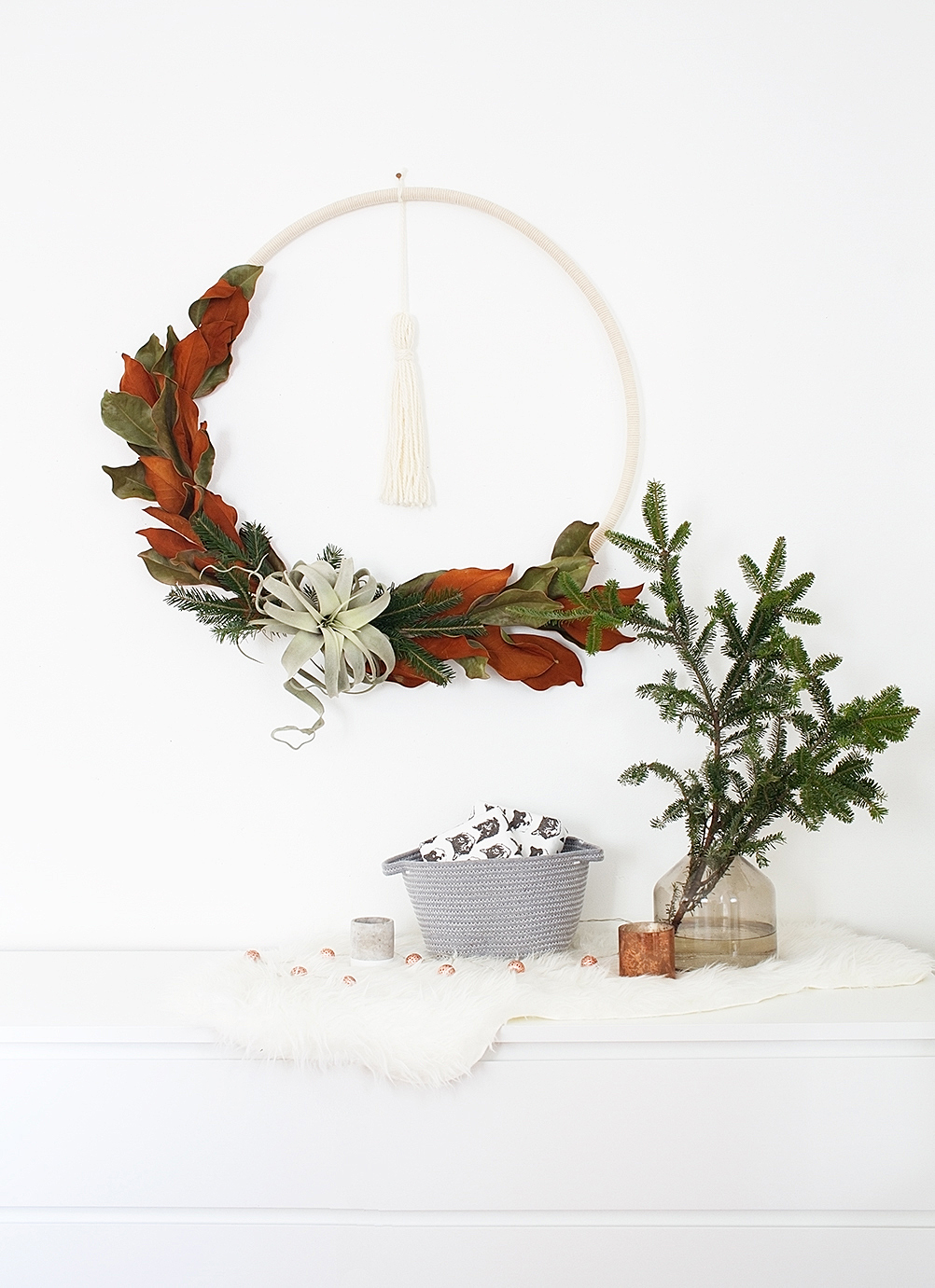 Diy Boho Winter Hula Hoop Wreath Idle Hands Awake