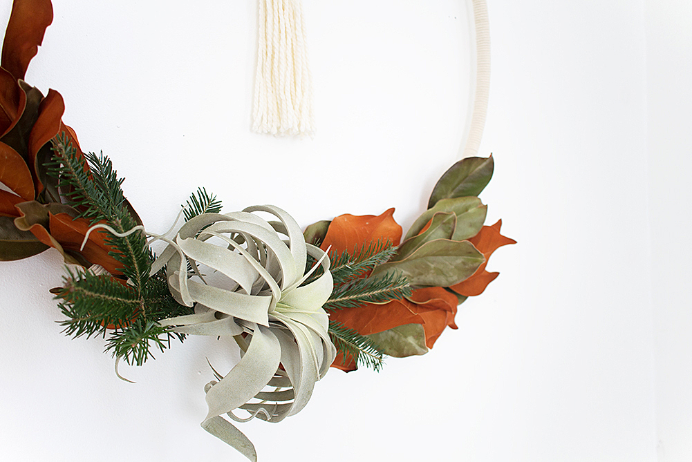 DIY Boho Winter Hula Hoop Wreath - Complete your modern Scandibo holiday decor with this simple yet stunning wreath made with fresh greens, cord, and an air plant!