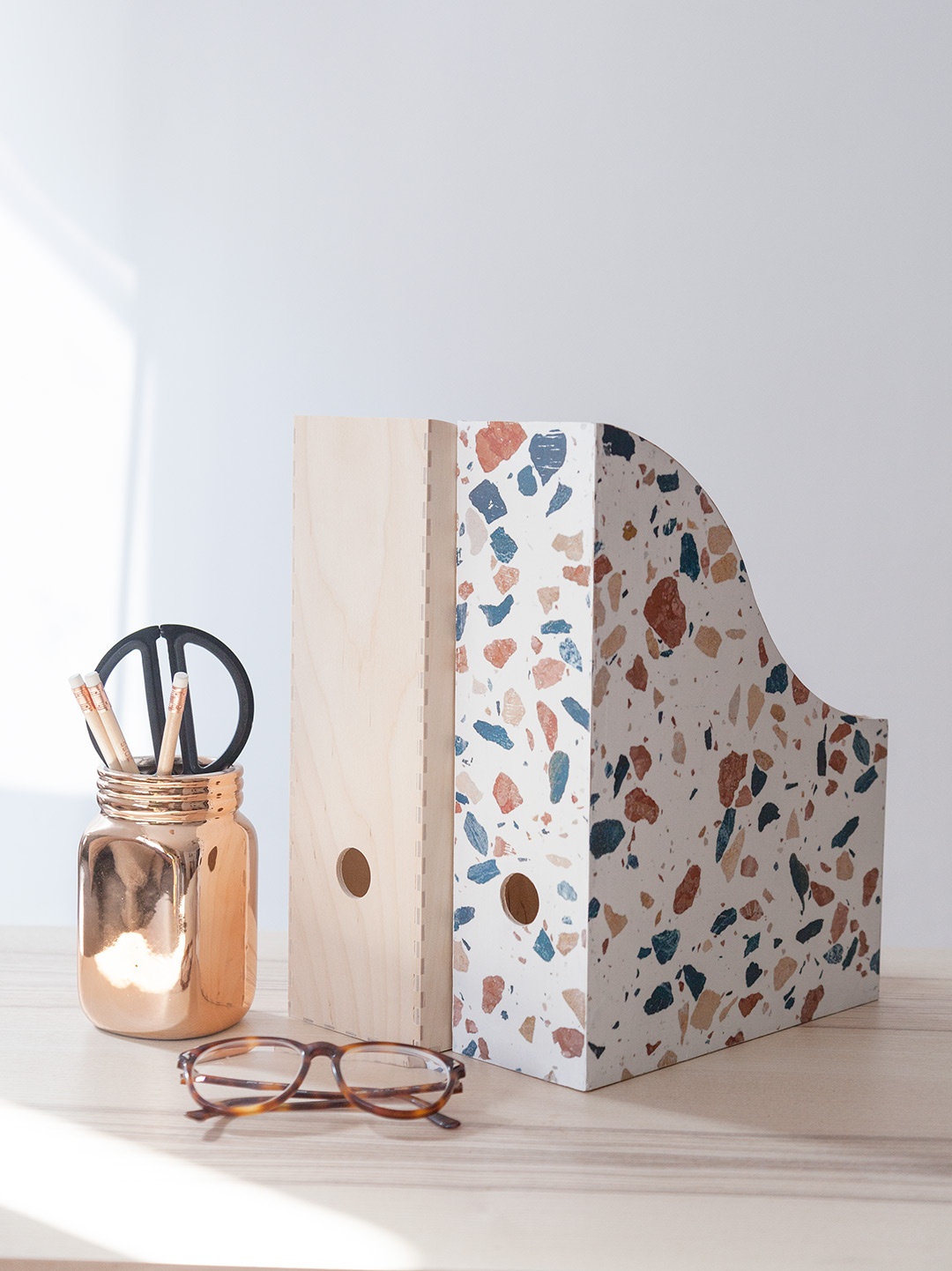 DIY Terrazzo Tile Magazine Holder by Fabrica de Imaginacion