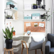 See how I turned a cluttered corner in my living room into a dreamy Scandinavian inspired workspace.